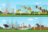 People visiting an zoo set of vector Illustrations, parents with children watching wild animals - 221784026