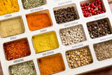 Fresh spices close up as a background. Top view. Turkish cuisine. - 221784238