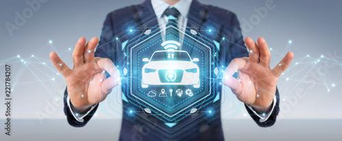 Sticker Businessman using modern smart car interface 3D rendering