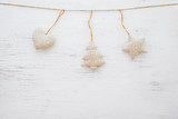 Christmas background - rustic christmas ornament hanging on white wood and copy space design. - 221786252