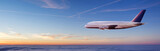 Huge two-storey passengers airplane flying above clouds - 221789248