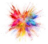 Coloured powder explosion isolated on white background - 221789292