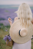 girl in a hat on a lavender field - 221794094