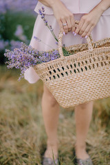 girl in hand holding bag with lavender