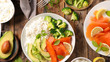 rice, avocado, broccoli and salmon - 221794840