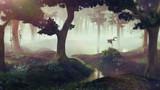 foggy fantasy forest with ponds, landscape
