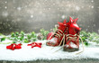 Leinwanddruck Bild - Christmas decoration red balls stars bokeh snowflakes