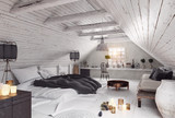 modern attic bedroom design. - 221801682