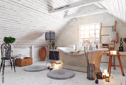 attic bathroom interior. © victor zastol'skiy