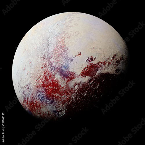 dwarf planet Pluto isolated on black background, part of the solar system - 221802297