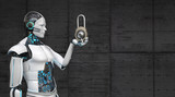 A white robot with a DLock in the hand. 3d illustration. - 221802660
