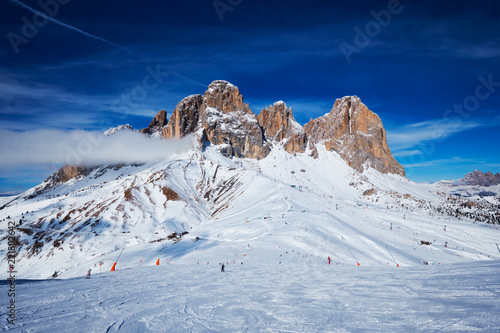 Ski resort in Dolomites, Italy - 221802642