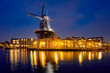 Leinwanddruck Bild - Harlem landmark windmill De Adriaan on Spaarne river. Harlem,