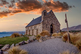 Church of the Good Shepherd at Lake Tekapo in south island in New Zealand - 221806801