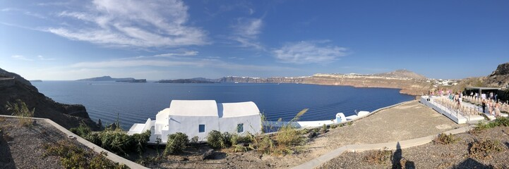 Views of Santorini caldera from atop the island near Megalochori © Katherine