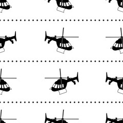 Seamless pattern with black helicopters on the white background.