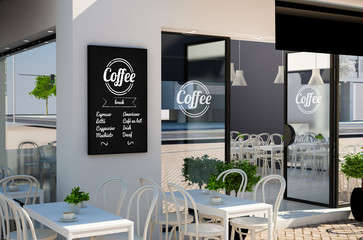 blackboard poster mockup on coffee shop facade