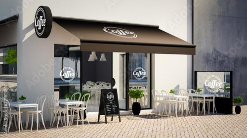 café facade mockup with branding elements - 221813800