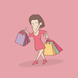 shopping cartoon vector illustration - 221814069