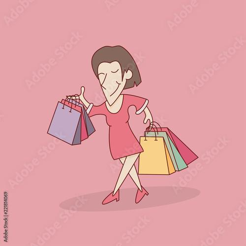 shopping cartoon vector illustration - 221814069