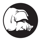 Pig head silhouette - black and white vector isolated illustration. Monochrome icon of animals drawing, graphic arts.