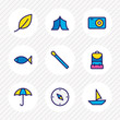 Vector illustration of 9 tourism icons colored line. Editable set of match, leaf, tent and other icon elements.