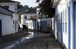 Reflections in the typical stone streets of Paraty