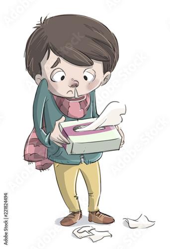 Leinwanddruck Bild niño enfermo resfriado