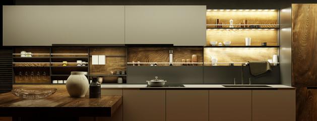 Moderne Küche nachts mit LED Licht © Robert Kneschke