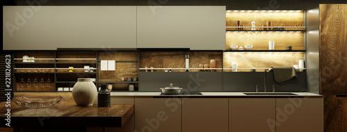 Leinwanddruck Bild Moderne Küche nachts mit LED Licht