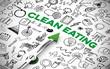 Ernährung Konzept für Clean Eating mit Kompass