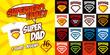 Set Super dad logo superhero T-shirt design - 221828841