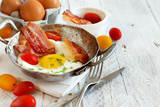 Breakfast with fried eggs and bacon - Continental breakfast - 221832634
