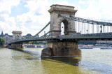 Chain bridge on river in Budapest Hungary - 221833045
