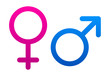 Pink and blue female and male signs on white background.