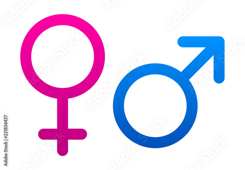 Różowi i błękitni żeńscy i męscy znaki na białym tle.