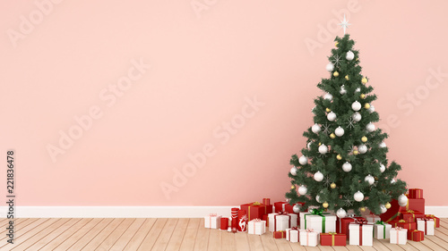 Christmas tree and gift box in living room on pink tone -  artwork for Christmas day or happy new year- 3D Illustration - 221836478