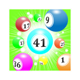 lottery balls with numbers flying towards with speed, bright green background - 221840245