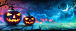 Quadro Halloween Pumpkins Glowing In Fantasy Night
