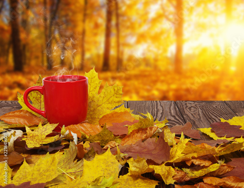 Autumn leaves and hot steaming cup of coffee. © Alekss