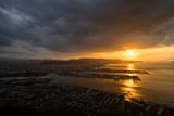夕陽 香川の観光スポット屋島山上からの高松市街並みと瀬戸内海の眺め2018年9月撮影 - 221846201