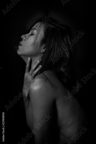 black and white portrait of sexy girl.erotic beautiful woman in dark - 221848016