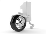 Number one character rolling spare wheel - 221848838