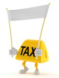 Taxi character holding blank banner - 221852036
