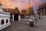 Beautiful view inside Wat Phra Keaw in Bangkok, Thailand while beautiful sky prime time. - 221852642