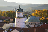 City Tower (Lower Gate) and synagogue in Trencin. Slovakia