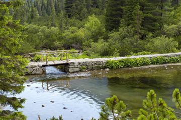 Small bridge on lake Popradske pleso in Tatra mountains. © woosak