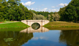 park panorama with the small river in the city of Gatchina - 221872828