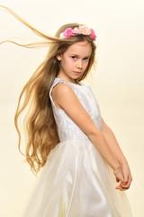 hairdo. little girl with cute hairdo. hairdo of child in hairdresser. trendy and modern hairdo. in her own style © tverdohlib