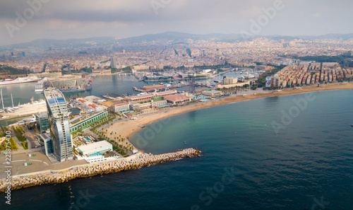 Barceloneta beach with hotel W Barcelona